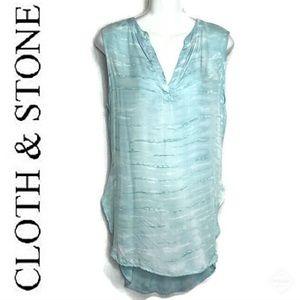 Cloth & Stone Aqua/Blue Tie Dye Tunic/Tank Sz S